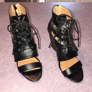 Black Leather Wedge Heels
